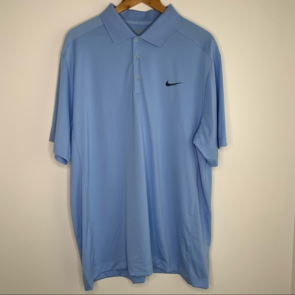 Men's Light Blue Nike Dry-Fit Golf Shirt XL